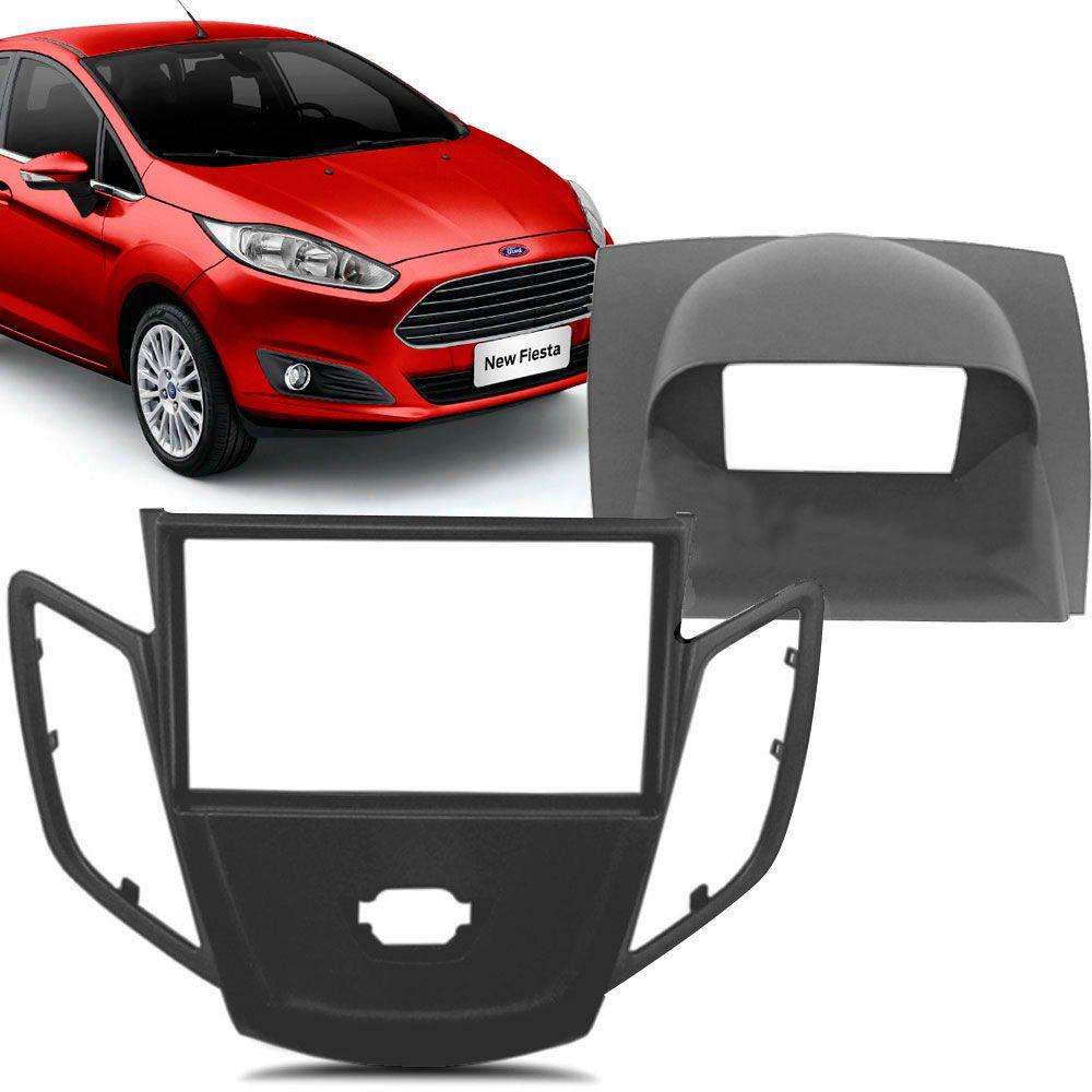 Moldura Painel 2 Din Ford New Fiesta 2014 Preta com Moldura Superior  - AutoParts Online
