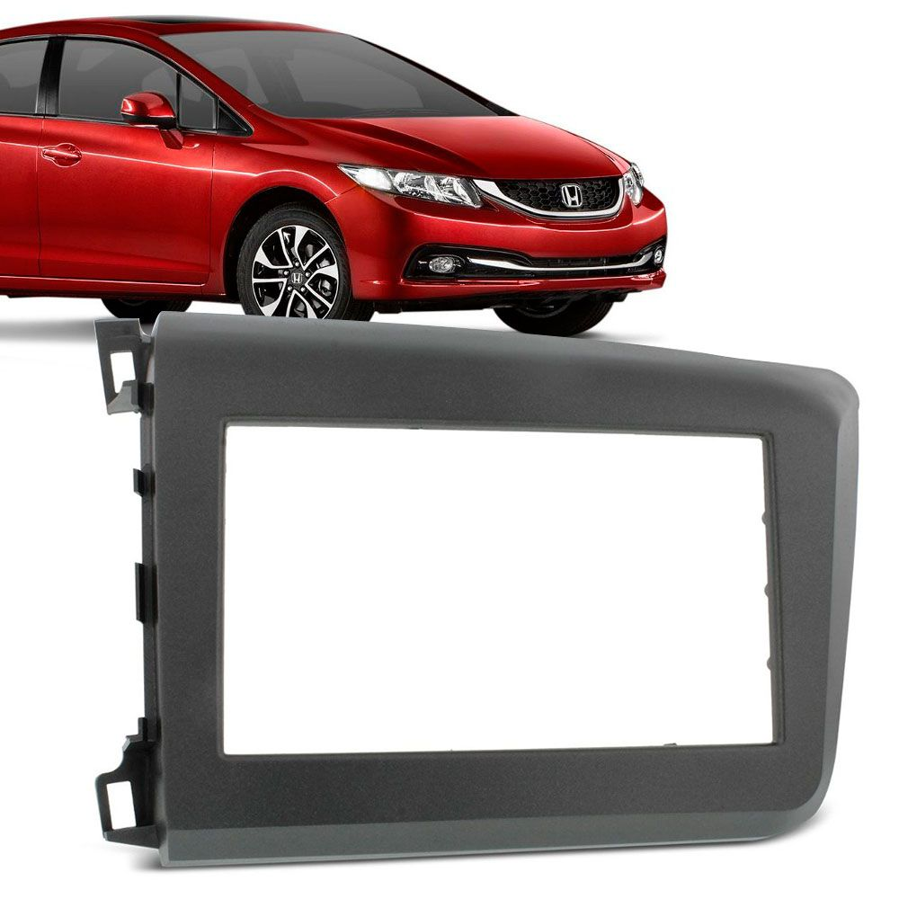 Moldura Painel 2 Din Honda New Civic 2012 a 2015 Grafite  - AutoParts Online