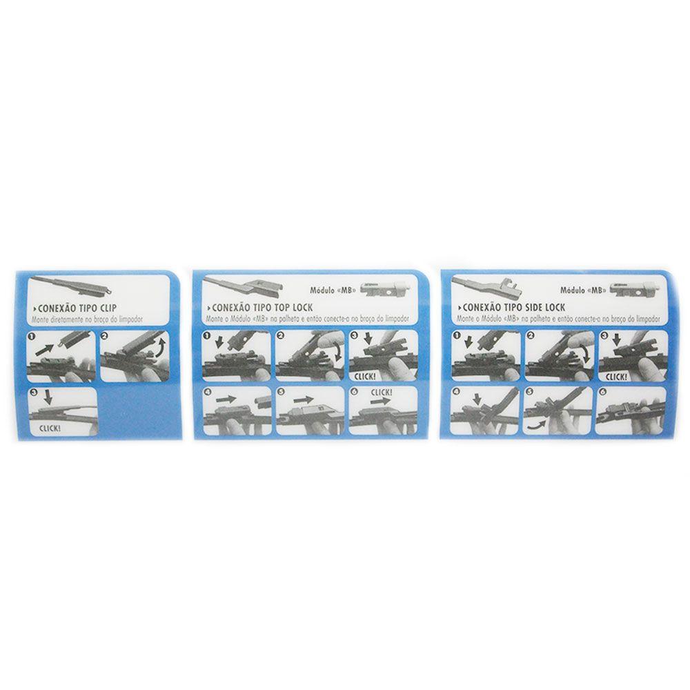 """Palheta Limpador Parabrisa Dianteira 16"""" 400mm Car+ Adaptador Universal  - AutoParts Online"""