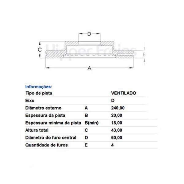 PAr Disco de Freio Dianteiro Ventilado Sem Cubo Frasle Gm Cobalt 1.4 2012 Em Diante New Prisma Onix 1.0 1.4 2013 Em Diante  - AutoParts Online