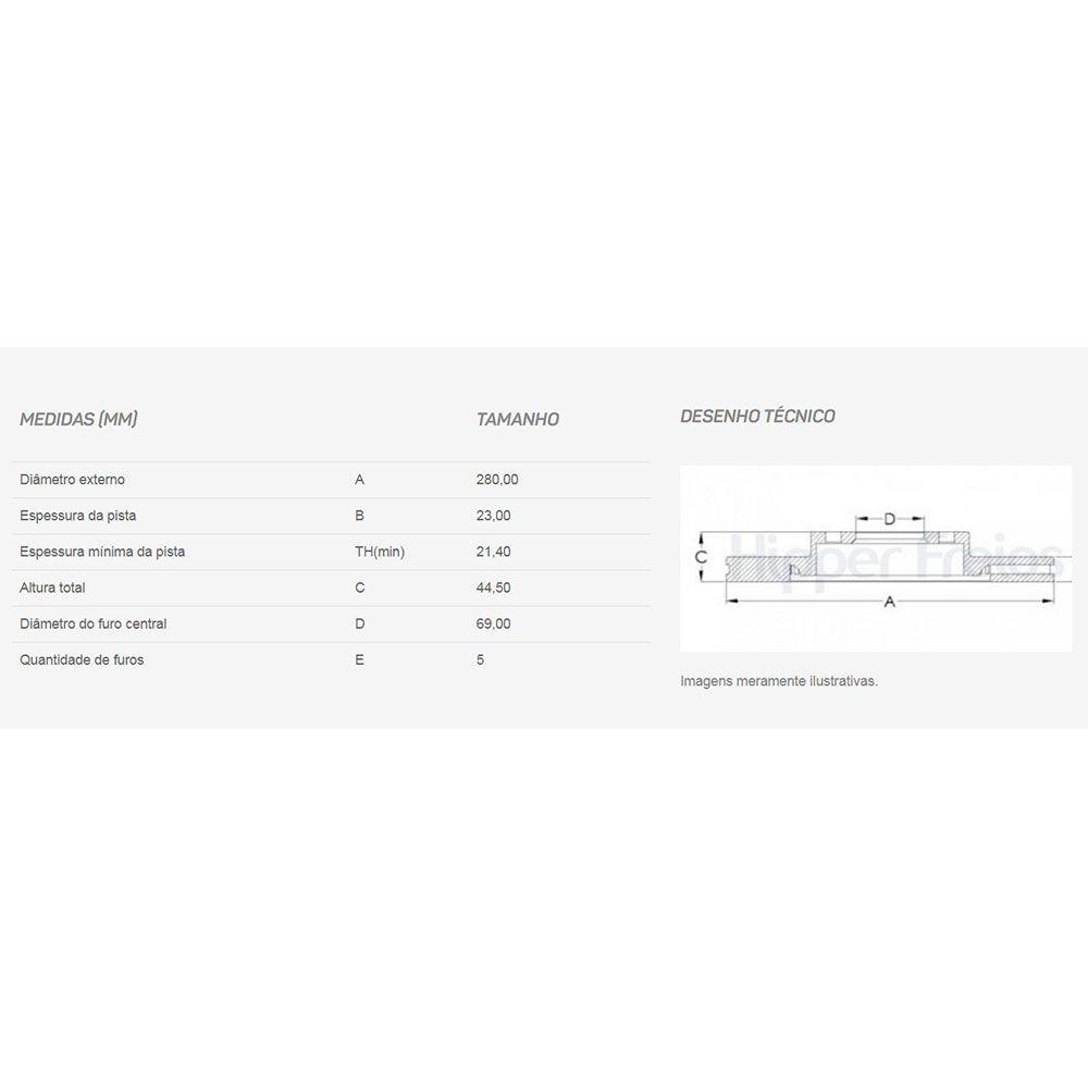 Par Disco de Freio Dianteiro Ventilado sem Cubo Hyundai Elantra 2012 em diante I30 2012 em diante  - AutoParts Online