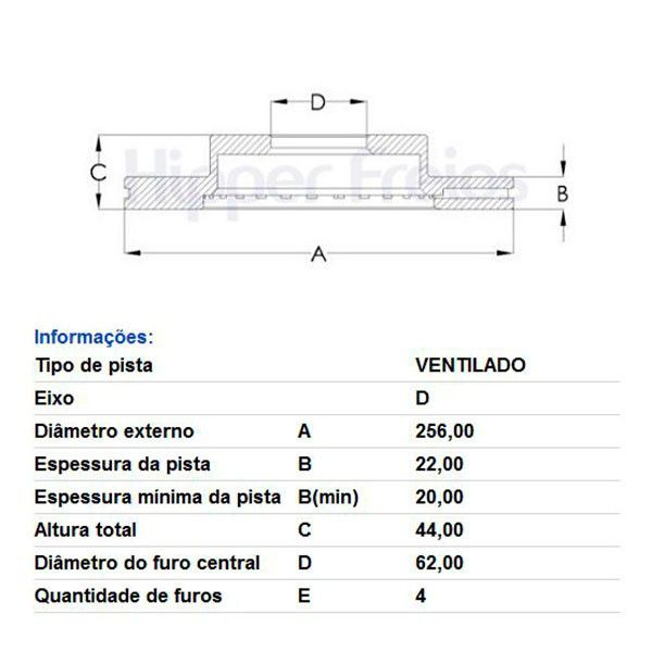 Par Disco de Freio Dianteiro Ventilado Sem Cubo Hyundai HB20 1.6 2013 em diante  - AutoParts Online