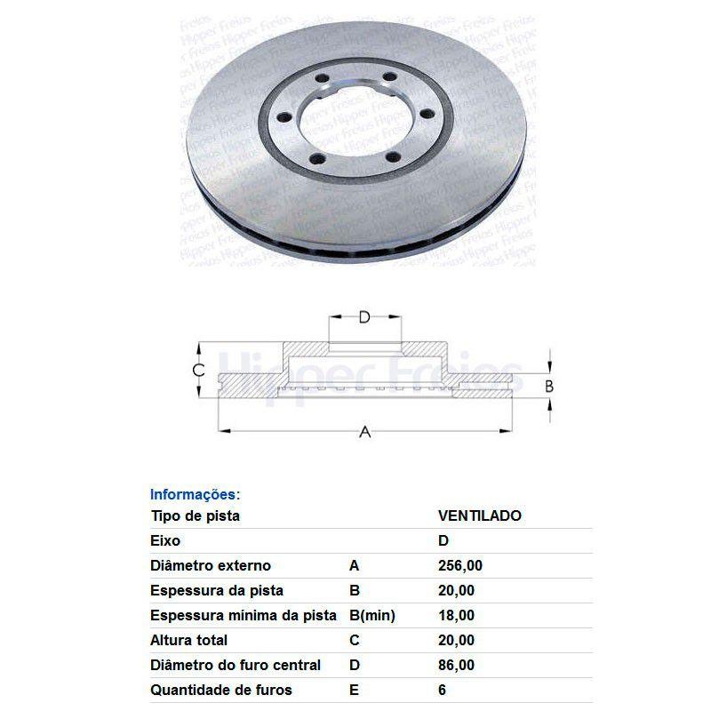 Par Disco de Freio Dianteiro Ventilado sem Cubo Kia Besta 2.2 1993 a 1998 Mazda B200 2.0 1986 a 1987 B2200 B2600 2.0 1987 a 1993  - AutoParts Online