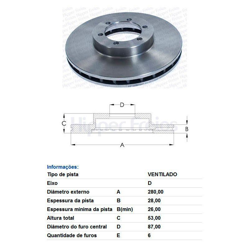 Par Disco de Freio Dianteiro Ventilado sem Cubo Kia Besta GS 2.7 2004 em diante 3.0 2005 em diante  - AutoParts Online