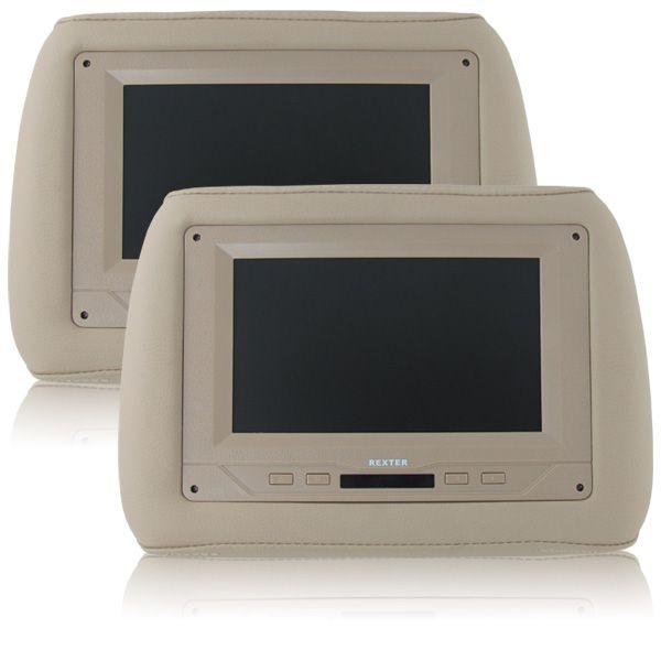 Par Encosto De Cabeça Com Tela de DVD 7? LCD Embutida Modelo Universal Cor Bege  - AutoParts Online