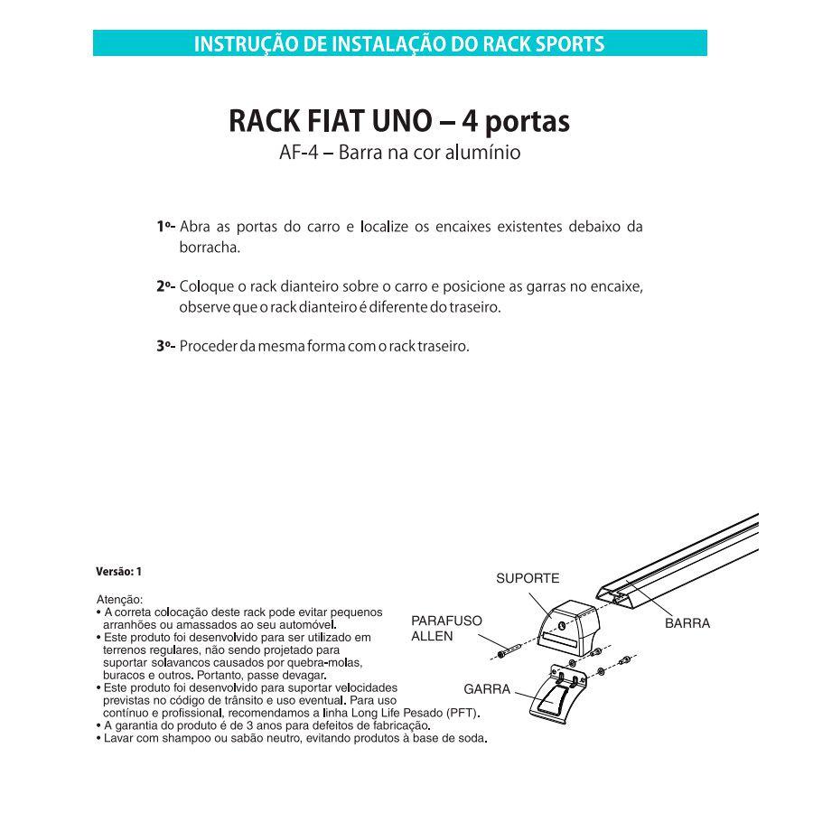 Rack Travessa Sport Fiat Uno até 2010 Uno Mille 4 Portas AF4  - AutoParts Online
