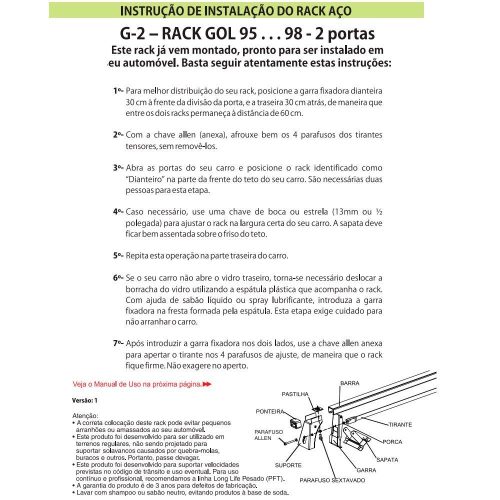 Rack Travessa Vw Gol 1995 a 1998 2 Portas G2  - AutoParts Online