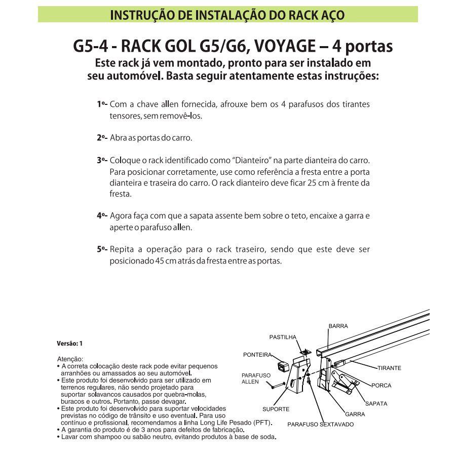 Rack Travessa Vw Gol G5 G6 Voyage 2009 em diante 4 Portas G5  - AutoParts Online