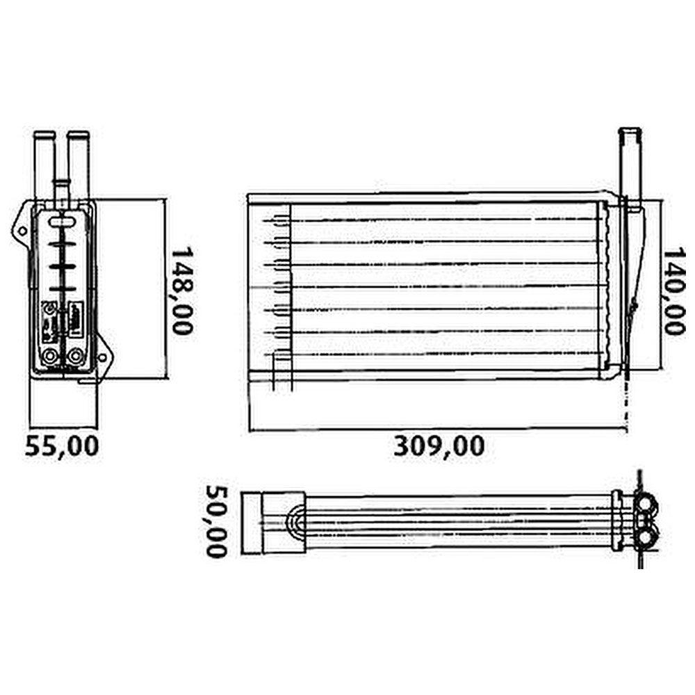 Radiador de Ar Quente Ford Escort 1.8L 1.6L 8V 1993 a 2003 Verona 1.8L 1.6L 8V 1990 a 1996  - AutoParts Online
