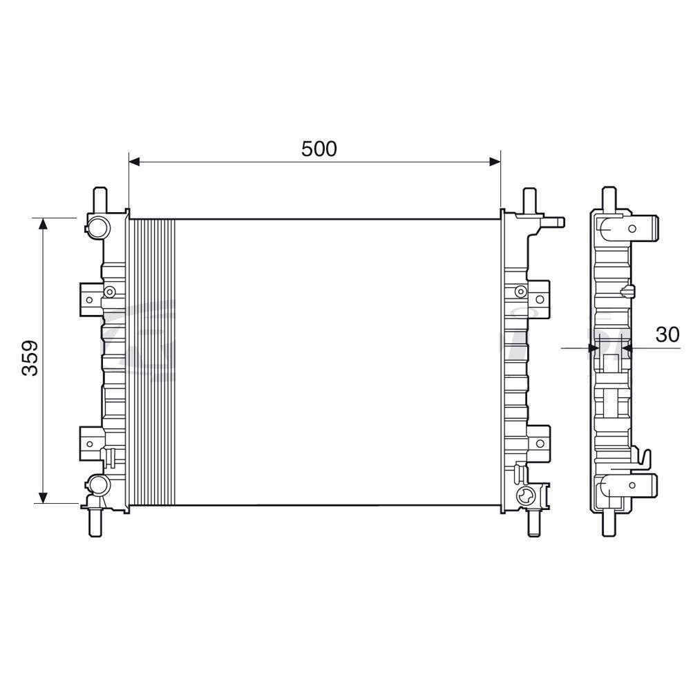 Radiador do Motor Ford FIesta Courier 1.0 Rocam 2000 a 2002 Ka 1.0 1.6  Com ou Sem Ar Condicionado Ref.12520  - AutoParts Online
