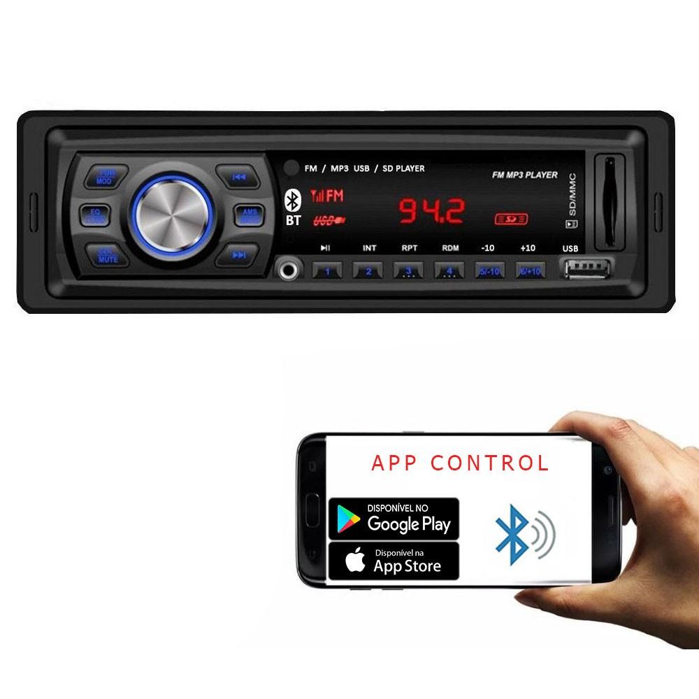 Rádio Automotivo Player Doorbem FM MP3 Usb Bluetooth Auxiliar Frontal 4x50w  - AutoParts Online