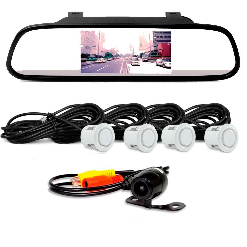 Retrovisor LCD com Câmera de Ré e Sensor de Estacionamento Branco  - AutoParts Online
