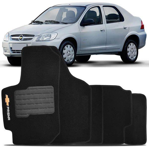 Jogo de Tapete Carpete Personalizado Chevrolet Prisma 2006 a 2012  Preto  4 peças  - AutoParts Online