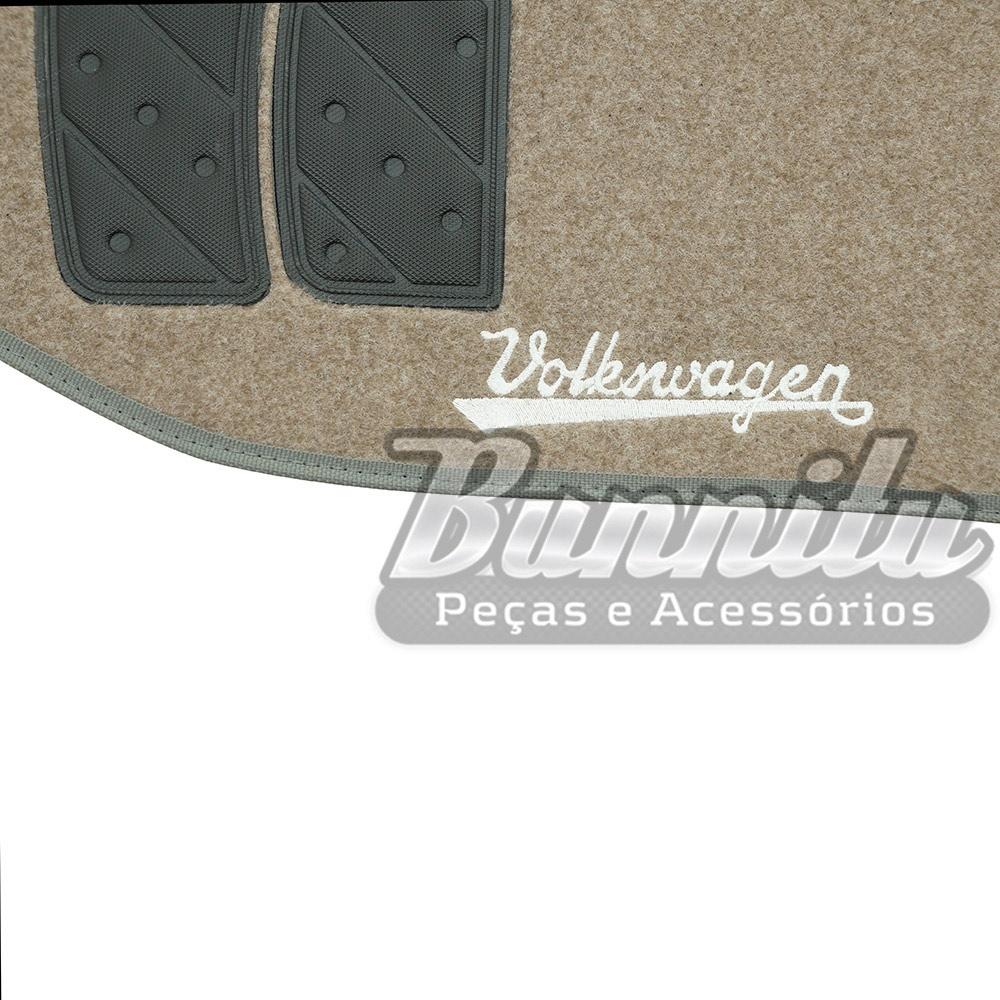Tapete de carpete modelo 4 peças na cor bege para VW Fusca  - Bunnitu Peças e Acessórios