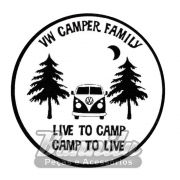 Adesivo modelo - VW Camper Family, Live to Camp - Camp to Live