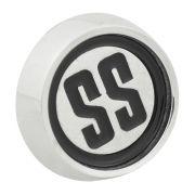 Emblema calota SS cor preta centro de roda GM Opala e Caravan SS