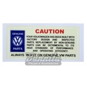 Adesivo modelo CAUTION Genuine Parts VW