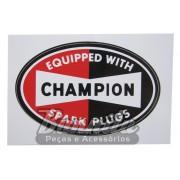 Adesivo para vidro modelo Champion Equipped With Spark Plugs