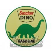Adesivo modelo Sinclair Dino Gasoline com fundo amarelo