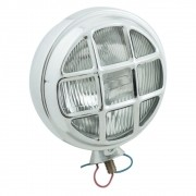 Farol auxiliar, milha, cromado com grade, lâmpada H5 e lente cristal raiada sem pestana