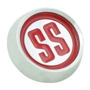 Emblema calota SS cor vermelha para centro de roda GM Opala e Caravan SS