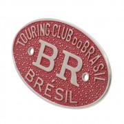 Emblema Plaqueta Brasão Vermelho BR Touring Brésil Carros Antigos Coleção