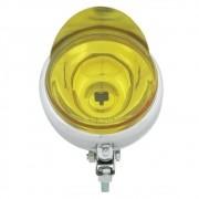 Farol auxiliar, milha, cromado com lente amarela lisa côncava de 12 cm com pestana