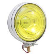 Farol auxiliar, milha, cromado com lente amarela lisa de 14 cm sem pestana