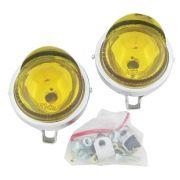 Farol auxiliar, milha, cromado com lente amarela lisa de 8 cm com pestana