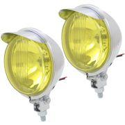 Farol auxiliar, milha, cromado lente amarela com pestana