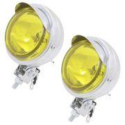 Farol auxiliar, milha, cromado,  lente amarela lisa de 8 cm com pestana
