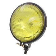 Farol auxiliar milha preto com lente amarela raiado sem pestana