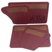 Forração Premium de porta e lateral na cor vermelho turim com jacarandá para VW Fusca até 1977