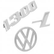 Emblema 1300L Tampa Traseira Motor + Brasão Superior Capo Dianteiro VW Fusca