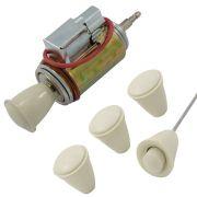 Jogo, Acend. Cigarros marfim c/ iluminação + Jogo botões marfim do painel Fusca e Karmann Ghia