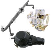 Kit Carburador 30 PIC Novo + Coletor de admissão VW Fusca 1300 e Gurgel + Filtro ar a óleo