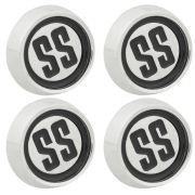 Jogo com 4 emblema calota SS cor preta para centro de roda GM Opala e Caravan SS