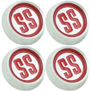 Jogo com 4, emblema calota SS cor vermelha para centro de roda GM Opala e Caravan SS