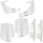 Jogo de polainas dianteiras, traseiras de alumínio e reforço do paralama de inox mod. 6 peças para VW Fusca