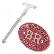 Kit Emblema Plaqueta Brasão Vermelho BR Touring Brésil Suporte VW Fusca após 1970