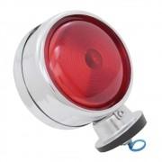 Lanterna adaptação cromada com lente vermelha modelo bojuda