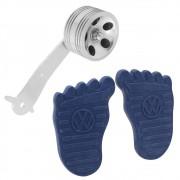 Par Capa Premium com logo VW modelo Foot pedal do freio e embreagem Azul Pedal rolo Billet