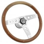 Volante com empunhadura em madeira para Fusca, Variant, Adamo, Buggy, Bianco, cubo VW após 1976