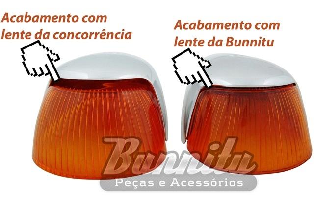 Lente Polimatic do pisca dianteiro cor ambar para VW Fusca 1965 à 1970  - Bunnitu Peças e Acessórios
