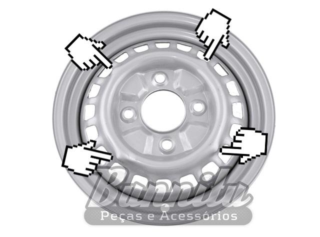 Roda de aço aro 15 4 furos para VW Fusca 1300, 1500, 1600, TL, Variant e Karmann Ghia TC  - Bunnitu Peças e Acessórios