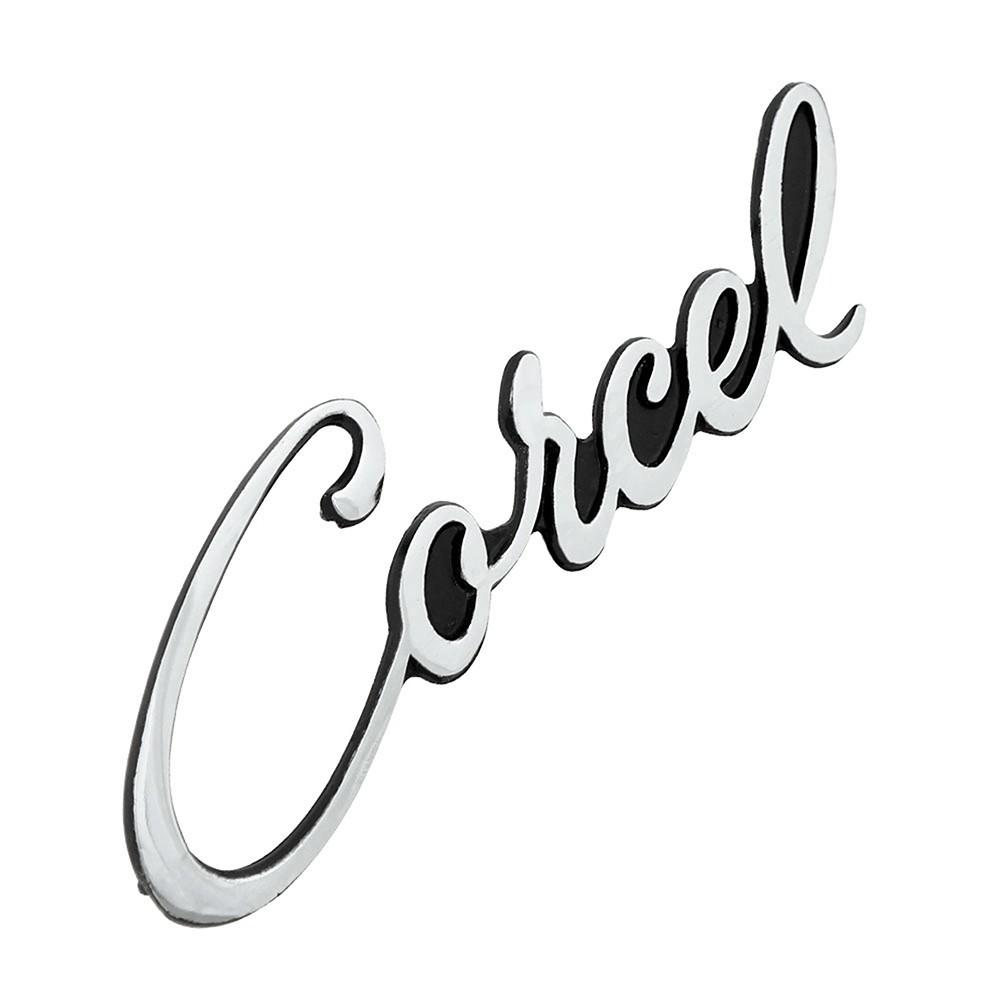 Emblema manuscrito modelo fundo preto Ford Corcel 1  - Bunnitu Peças e Acessórios
