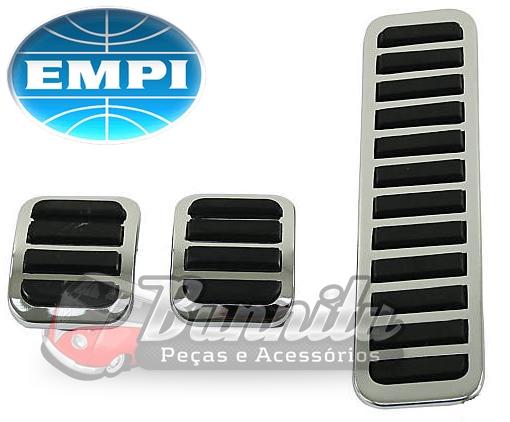 Pedaleiras Cromadas VW Fusca - Acelerador/ Freio/ Embreagem - EMPI  - Bunnitu Peças e Acessórios