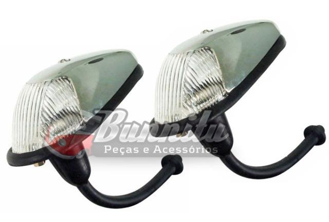 Lanterna de pisca dianteiro modelo fino 1ª linha cor cristal para VW Fusca de 1960  à 1964  - Bunnitu Peças e Acessórios