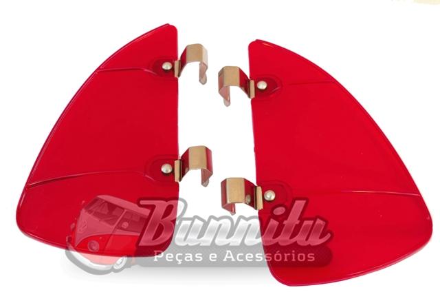 Defletor em Acrílico Vermelho para quebra vento VW  - Bunnitu Peças e Acessórios