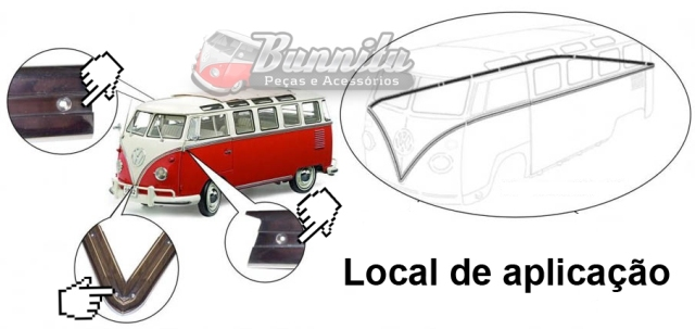 Filete de borracha na cor vermelha claro do friso lateral para VW Kombi luxo até 1975  - Bunnitu Peças e Acessórios